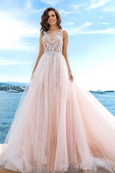 CRYSTAL DESIGN 2017 bridal sleeveless v neck heavily embellished bodice tulle skirt princess romantic blush color a  line wedding dress low back long royal train (andrea) mv  #bridal #wedding #weddingdress #weddinggown #bridalgown #dreamgown #dreamdress #engaged #inspiration #bridalinspiration #weddinginspiration #weddingdresses #couture #pink #blush #romantic #lace