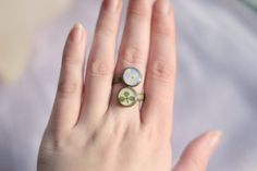 Ring with real flowers hydrangea clover by sincereworkshop on Etsy