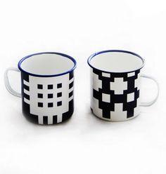 The Gwalia Mug Set  A set of two traditional enamel mugs with Blodwen's distinctive 'Caernarfon' design in navy and white