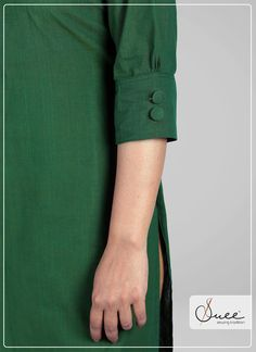 #suee #sewingtradition #handloom  #khadi #green #greenkurti #kannurhandloom #quality #banded #gogreen #2019 #colour #trendy #classy #buttons #westrn #acidfree #cotton #boatneck #trendy #colour guarantee #cashback #halfsleeve #kerala #india #ethnic #dailywear #office Neck Designs For Suits, Sleeves Designs For Dresses, Sleeve Designs, Kurti Sleeves Design, Kurta Neck Design, Khadi Kurti, Kerala India, Kurti Designs Party Wear, Indian Fashion Dresses