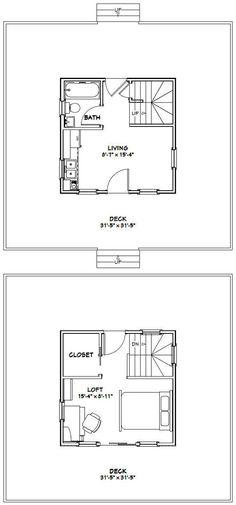 16x16 Tiny Homes PDF Floor Plans 446 sq by ExcellentFloorPlans