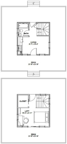 16x16 Tiny Homes PDF Floor Plans 446 sq by ExcellentFloorPlans