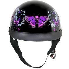Outlaw T-72 Dual-Visor Glossy Motorcycle Half Helmet with Graphics of Flowers and Skull Butterflies - LeatherUp.com