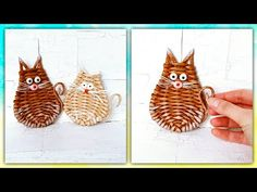 A cat from paper tubes! Very cute and easy! Willow Weaving, Basket Weaving, Paper Weaving, Hand Weaving, Handmade Christmas, Christmas Ornaments, Newspaper Crafts, Tear, Book Folding