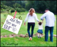 "The Pinterest Project: Baby Announcement Photo.... But say ""and then there were 3"" with just the couple together!"