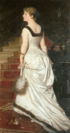Elegant woman in white, 1873, Knut Ekwall.