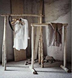 Good Ideas For You | Saplings made in to beautiful clothing rails by Andrea Brugi.