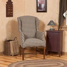 Delicieux Petite Wingback Chair In Churchill Navy And Tan Fabric