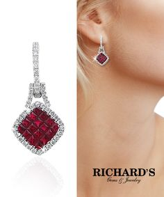 Ruby and diamond dangle earrings in 18k white gold.Contact us today 305-379-3800 or sales@richardsjewelry.com