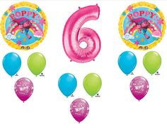 12pc. 6th Birthday Trolls Poppy Balloons Party Decorations Favors  Centerpiece #6