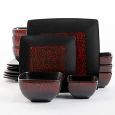 Dress up your dinnertime with this chic 16-piece  dinnerware set. The refined  stoneware set features a red and black  textured pattern that will add life and variety meals.
