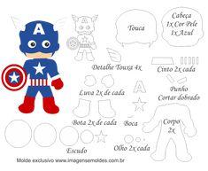 Molde Personagem - Capitão América - Molde para Feltro - EVA, Molde Personagem - Capitão América - Molde para Feltro - EVA e Artesanato
