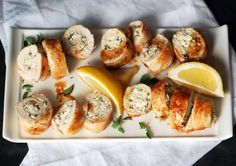 Chicken Roulade- Tried this and it was great. Combo of feta and herbs inside was tasty. I used dried oregano but I bet fresh, like the recipe says, would make it way better.