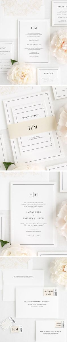 A simple and sophisticated monogram paired with a vintage script font create a statement on our glamorous Glam Monogram wedding invitations. Complete with a floral envelope liner and solid belly band in a neutral champagne. Customize this wedding invitation to your needs and let your wedding day shine!