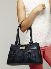 Fliplock Knitstraw Double Compartment Bag, Navy