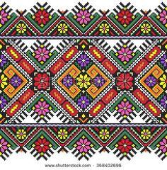 embroidered good like old handmade cross-stitch ethnic Ukraine pattern. Ukrainian towel with ornament, rushnyk called, in vector