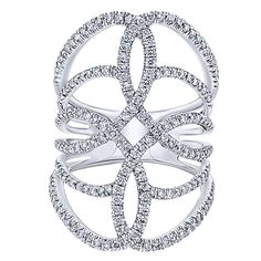 14k White Gold Lusso Diamond Style  Wide_band Ladies' Ring With  Diamond