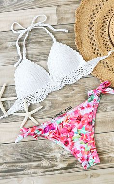 0ee4c657e389f Floral Print Crochet Mix  amp  Match Bikini Set (Mix Match Suits) Swimsuits  2017