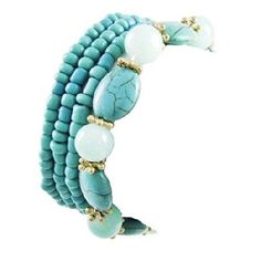 If you're into Southwestern styles, you will love this versatile, all-turquoise two-for-one combination bracelet. Gold tone flower spacers accentuate strings of oval-shaped turquoise acrylic beads and round glass aqua semi-precious stones in a stretch ...