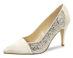 Brautschuhe Hochzeitsschuhe Pumps Rainbow Club Claudia Satin Ivory Silver Glitte