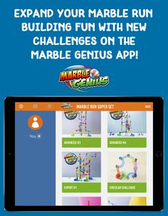 When choosing a marble run toy, endless building options matter! The new Marble Genius app has building tips and challenges for all of our marble run toys, including the best-selling Super Set. Marble Toys, Steam Toys, Marble Maze, Steam Learning, Steam Education, Maze Game, Super Sets, Inspired Learning, Child Smile