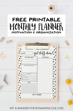 Get Stuff Done Monthly Planner - This Free Printable At-A-Glance Monthly Planner holds important goals and plans for the month to quickly reference anytime. Get organized and make your plans reflect your passions. Wit & Wander for By Dawn Nicole Monthly Planner Printable, Free Planner, Planner Pages, Planner Inserts, Happy Planner, Planner Stickers, Planner Ideas, Planner Journal, Calendar Printable