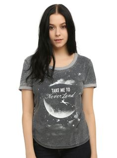 "<p>Grey burnout style ringer tee from Disney's <i>Peter Pan</i> with a ""Take Me To Neverland"" moon design on front.</p>  <ul> 	<li>53% cotton; 47% polyester</li> 	<li>Wash cold; dry low</li> 	<li>Imported</li> 	<li>Listed in junior sizes</li> </ul>"