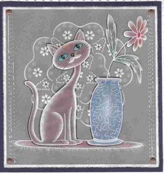 Chat et vase Lesley en pergamano Silk Ribbon Embroidery, Embroidery Applique, Machine Embroidery Designs, Parchment Design, Paper Art, Paper Crafts, Pyrography Patterns, Parchment Cards, Butterfly Template