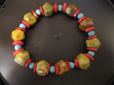 Turquoise, coral, jasper bracelet by las81101 on Etsy