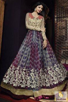 Bollywood Heroine Grey Beige Net Designer Anarkali Suit Online #salwarsuit, #bollywoodsuit more: http://www.pavitraa.in/catalogs/bollywood-actress-shilpa-shetty-anarkali-dresses-online-shopping/?utm_source=rn&utm_medium=pinterestpost&utm_campaign=1jul