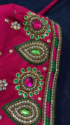 Mirror Work Blouse Design, Patch Work Blouse Designs, Maggam Work Designs, Simple Blouse Designs, Saree Tassels Designs, Saree Kuchu Designs, Wedding Saree Blouse Designs, Diy Embroidery Designs, Beaded Embroidery