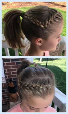 Little Girl Easy Front Braid Ponytail Hairstyle MakeupBeauty - front hairstyles for girls hairstyles for girls with bows Little Girls Ponytail Hairstyles, Little Girl Ponytails, Braided Ponytail Hairstyles, Girls Braids, Hairstyles Haircuts, Braid Ponytail, Asian Hairstyles, Female Hairstyles, Glamorous Hairstyles