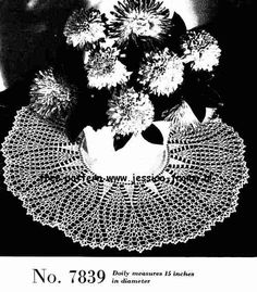 Linen Center Doily 7839 Doilies & Edgings  Book No. 3  The Canadian Spool Cotton Company  1940's