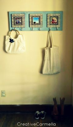 DIY coat rack....I did 4 picture frames instead of three. Turned out so cute!