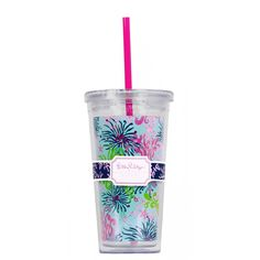 Dirty Shirley Tumbler with Straw - Lilly Pulitzer $15