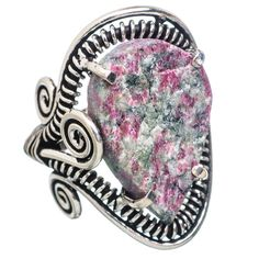 Large Rough Russian Eudialyte 925 Sterling Silver Ring Size 7.75 RING754105