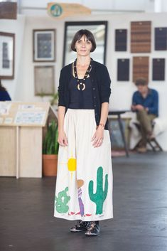 25 Perfect Outfits From The Most Stylish Craft Fair Ever #refinery29 http://www.refinery29.com/2015/06/88847/west-coast-craft-fair-street-style-pictures#slide-12 A cool look courtesy of Nikki Katz. She's wearing a vintage skirt, Ricardo Medina shoes, and an Assembly of the Wild bracelet and necklace.