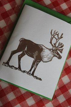 Handprinted Linocut Reindeer card