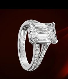 Emerald-cut engagement ring--beautiful, but I would remove small side stones (image only) Antique Style Engagement Rings, Platinum Engagement Rings, Solitaire Engagement, Diamond Solitaire Rings, 3 Carat Diamond, Cartier Wedding Rings, Luxury Jewelry Brands, Bling Wedding, Girls Jewelry