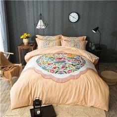 Papa&Mima luxury bohemia style bedding set 4pcs king queen size bedlinen four seasons duvet cover set 100%cotton