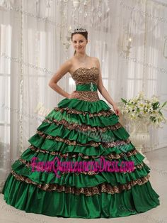 daf3ac7ef9 Buy soft taffeta olive green tiered sweet sixteen dresses with leopard print  from zebra quinceanera dresses collection