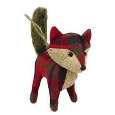 4, Holiday Living Brown and Plaid Fox Ornament