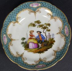 MEISSEN PORCELAIN BOWL w/ HAND PAINTED SCENE - EliteAuction.com