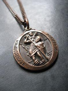 Wander - Men's Unisex Saint Christopher Medallion Necklace - Darkly Oxidized Copper