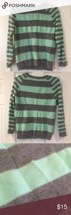 Forever 21 Gray and Turquoise Stripped Sweater Forever 21 Gray and Turquoise Stripped Sweater. Great condition- nothing wrong! All offers considered Forever 21 Sweaters Crew & Scoop Necks
