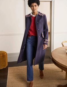 Floral Embroidered Coat - Navy Embroidered