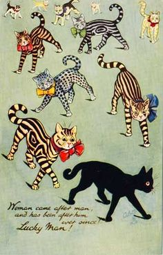 Cats in Art & Illustration: cat postcard Old Cats, Cats And Kittens, Ragdoll Kittens, Funny Kittens, Bengal Cats, White Kittens, Louis Wain Cats, Animal Gato, Gato Anime