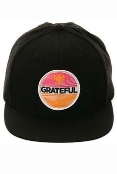 Grateful Patch Snapback Hat Black