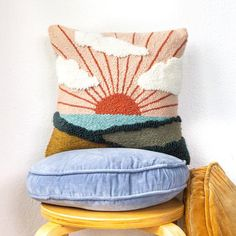 Textiles, Punch Needle Patterns, Funny Design, Rug Hooking, Cross Stitch, Weaving, Diy, Throw Pillows, Crafty