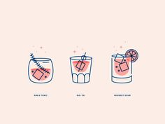 Creative Cocktails, Illustrations, Classic, Glass, and Whiskey image ideas & inspiration on Designspiration Menu Illustration, Cocktail Illustration, Graphic Design Illustration, Icon Design, Web Design, Flat Design, Cocktail Book, Cocktail Sauce, Cocktail Shaker